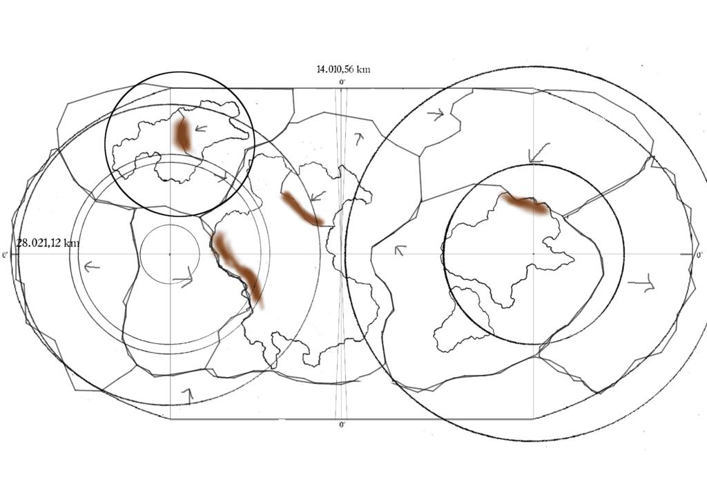 Eine etwas chaotische Karte mit Kontinenten, Gebirgen, Plattentektonik und mehr.